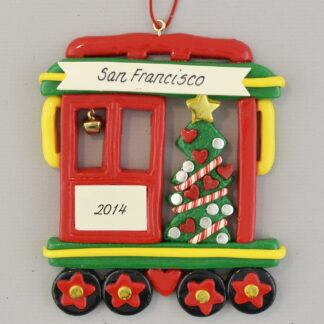 San Francisco Cable Car with Tree personalized christmas Ornaments