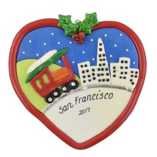 San Francisco Skyline and Cable Car personalized christmas ornaments