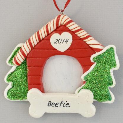 Dog House Photo Frame Personalized christmas Ornaments