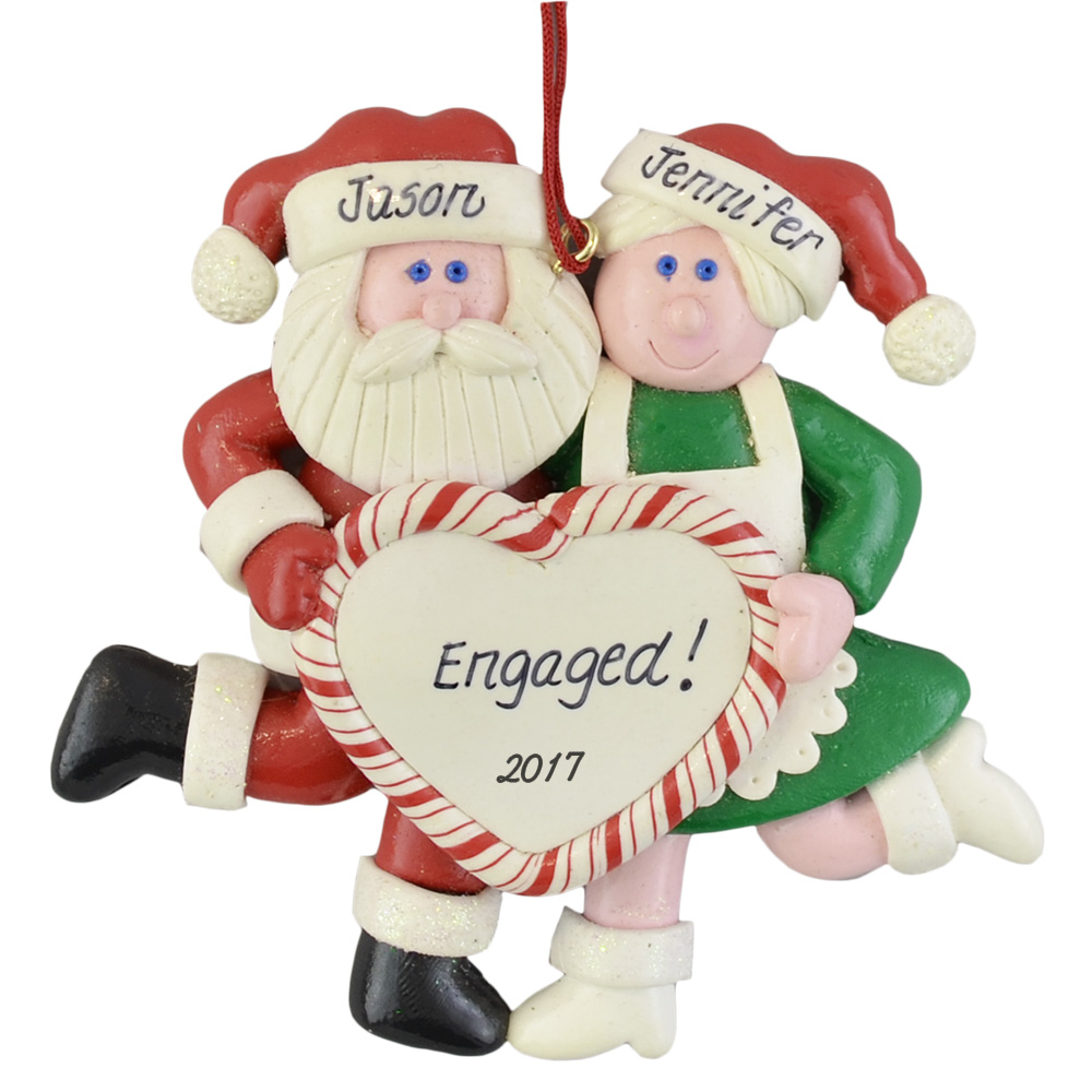Santa's Personalized Engagement christmas ornaments
