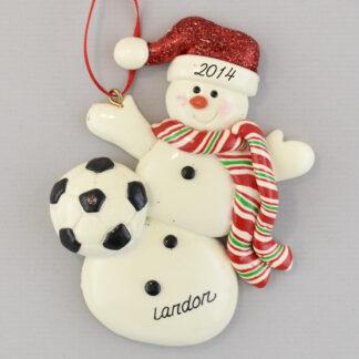 Soccer Snowman Personalized Christmas Ornaments