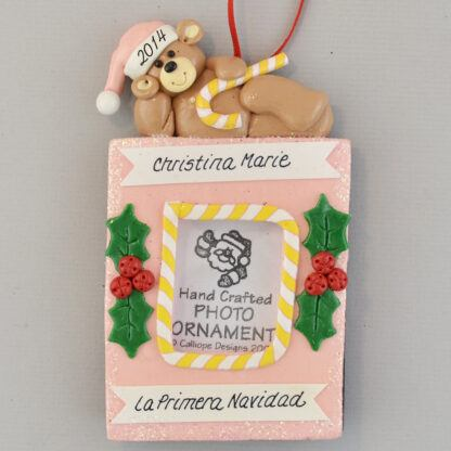 La Primera Navidad de Bebe Girl's Photo personalized Christmas Ornaments