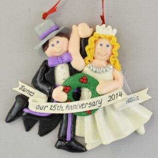 Silver Anniversary (25 Years) Blonde Bride personalized christmas Ornaments