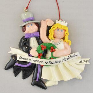 Bride (Blonde) and Groom Primera Navidad personalized christmas Ornaments