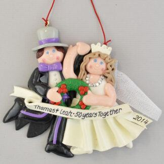 Golden Anniversary (50 Years) Brunette Bride personalized christmas Ornaments