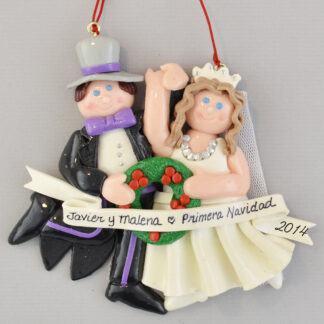 Bride (Brunette) and Groom Primera Navidad personalized christmas Ornaments