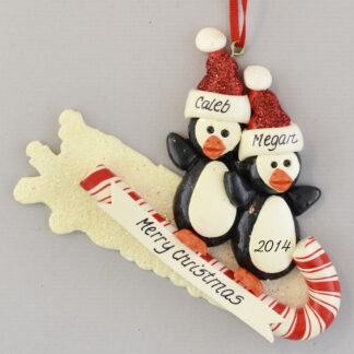 Penguins on Toboggan (2) personalized christmas Ornaments