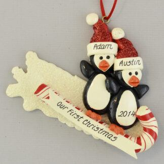 Penguin Partners on Toboggan personalized christmas ornaments