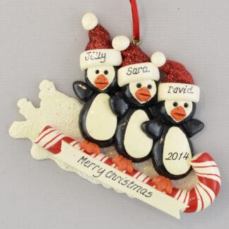 Penguins on a Toboggan (3) Personalized christmas Ornaments