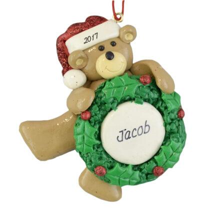 Bear Holding Wreath personalized christmas ornaments
