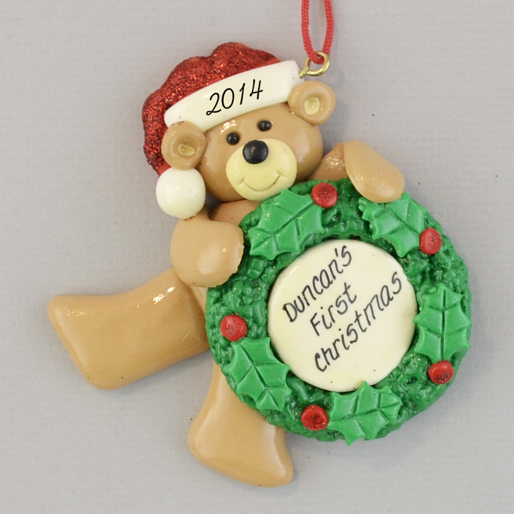 Personalized First Christmas Bear Ornaments