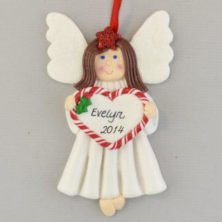 Brunette Angel personalized christmas Ornaments