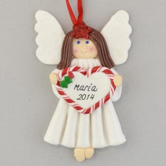 Brunette Angel Feliz Navidad personalized christmas Ornaments
