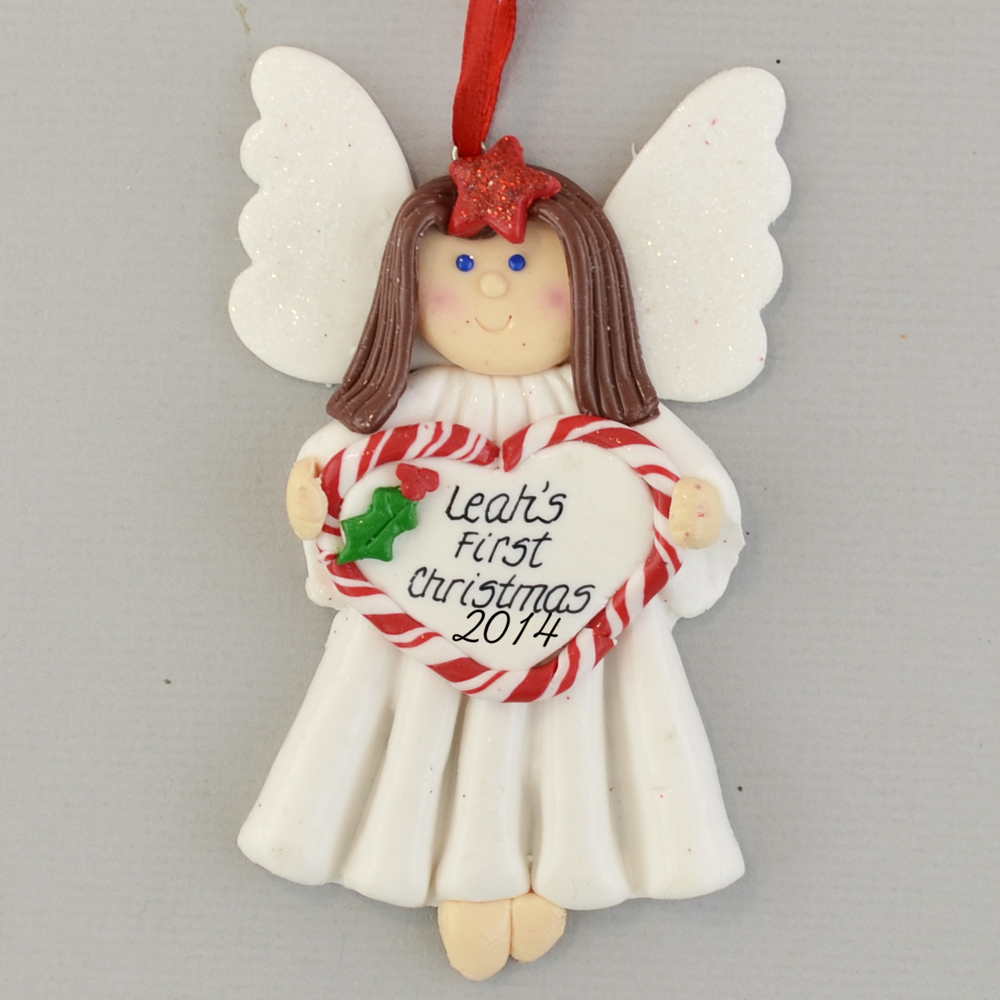 angel brunette baby s first christmas personalized claydough ornament