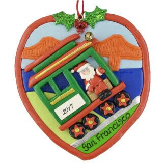 San Francisco Cable Car on hill personalized christmas ornaments