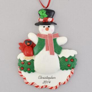 Snowman with Cardinal Decoration personalized christmas ornaments