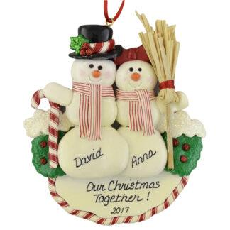 Snow Couple personalized christmas ornaments