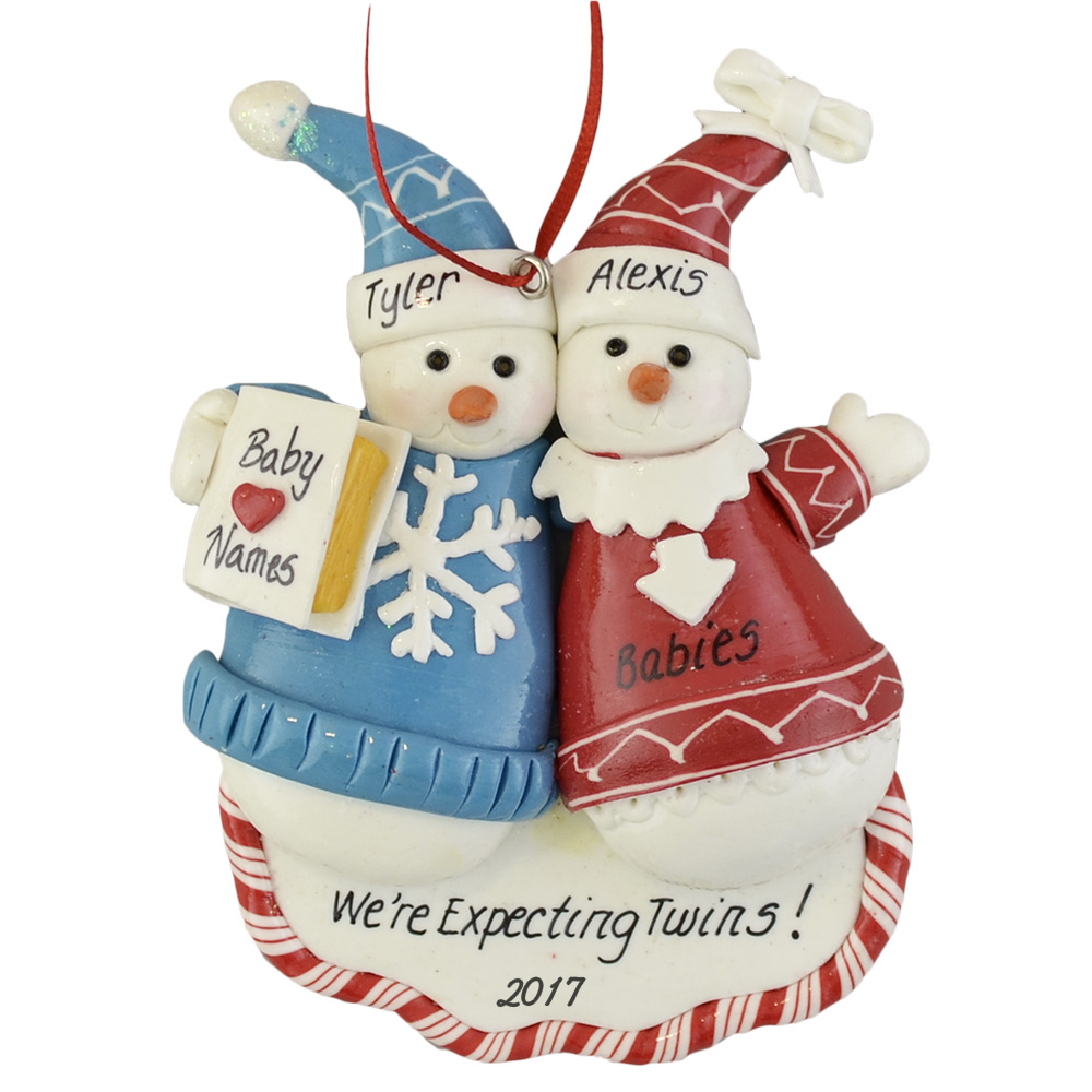 Expecting Twins or triplets personalized christmas ornaments