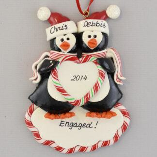 Engaged Penguins personalized christmas ornaments