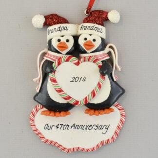 Penguin Anniversary Personalized christmas Ornaments