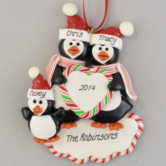 Personalized Penguin Family (3) christmas Ornaments