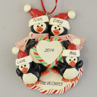 Personalized Penguin Family (4) christmas Ornaments