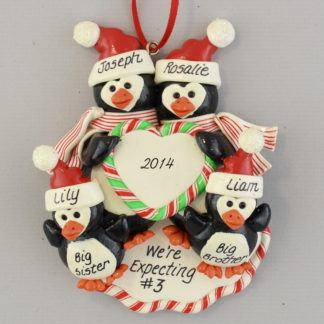 Pregnant Penguin Family Expecting #3 Ornament