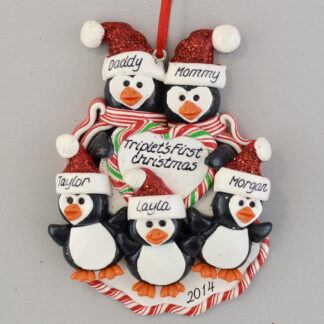 Triplet's First Christmas Personalized Penguin Family christmas Ornaments