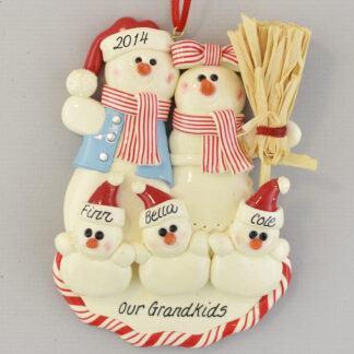 Grandma and Grandpa's Three Snowbabies Personalized christmas Ornaments