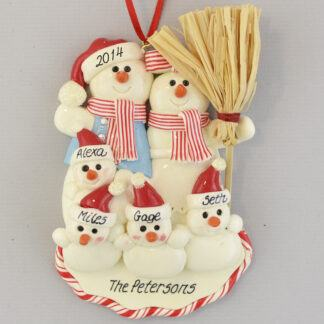 Our Family with Four Snowbabies Personalized christmas Ornaments