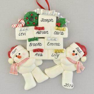Snow Couple with Eight Gifts personalized Christmas Ornaments