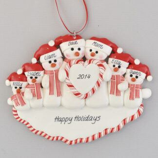 Family of Snowmen (7) Heart personalized Christmas ornaments
