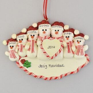 Family of Seven Snowmen Feliz Navidad personalized christmas Ornaments