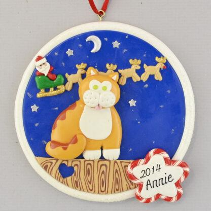 Kitty Cat on Fence - Orange - personalized christmas Ornaments
