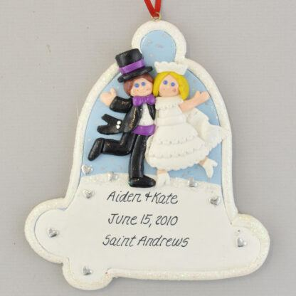 Our First Christmas as Mr. and Mrs. Wedding Bell Christmas Ornament - Blonde