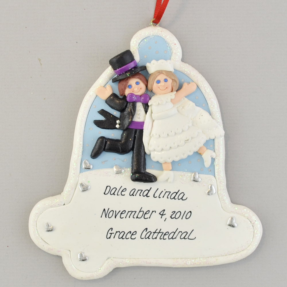 Mr  and Mrs  Wedding Bell Christmas Ornament