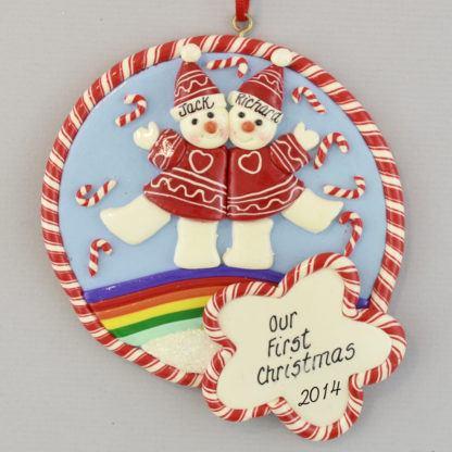 Rainbow Pride Snowmen Personalized christmas Ornaments