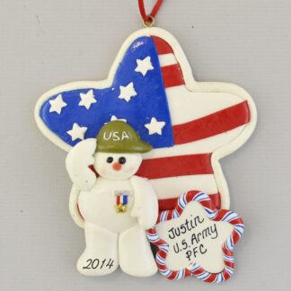 Soldier and Flag Personalized christmas Ornaments