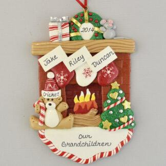 Our Grandchildren Fireplace Personalized Christmas Ornament