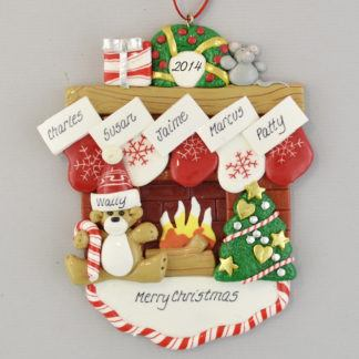 Fireplace Mantle with 5 Stockings personalized christmas Ornaments