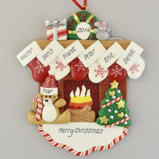 Fireplace Mantle with 6 Stockings personalized christmas Ornaments
