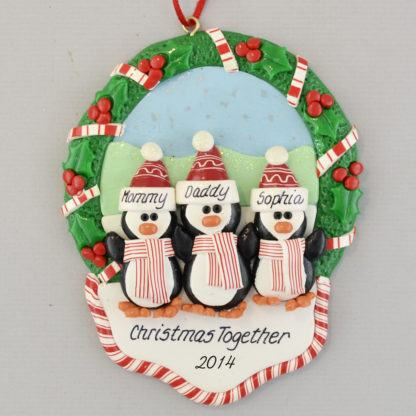 3 Penguins in Christmas Wreath personalized Ornaments