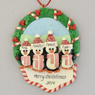 4 Penguins in a Christmas Wreath personalized Ornaments