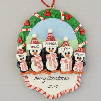 5 Penguins in a Christmas Wreath personalized Ornaments