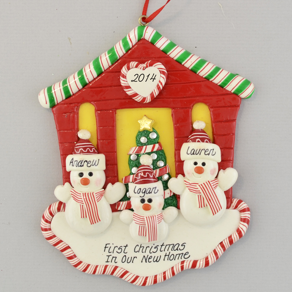 First Christmas New House For Three Personalized Ornaments