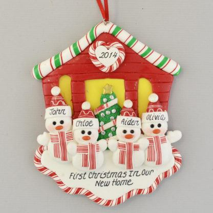 First Christmas New House for Four personalized christmas Ornaments