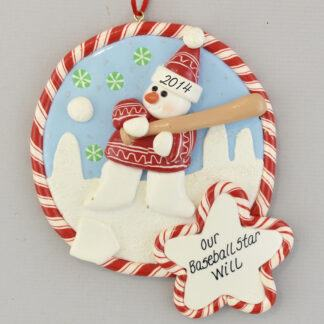 Baseball Star Claydough Christmas Ornament