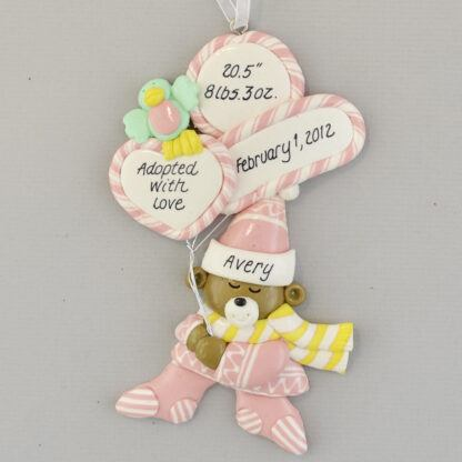 Adopted Baby Girl's Stats Personalized Christmas Ornament