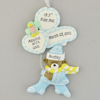 Adopted Baby Boy's Stats Personalized Christmas Ornament