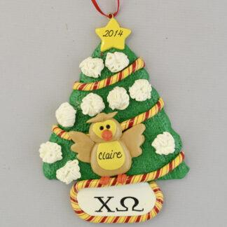 Chi Omega Owl by Christmas Tree Personalized Ornament